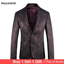 PAULKONTE 2019 New Scale Pattern Mans Jacket Suit Top High Quality Business Casual Trend Wild Single West Mostly Male Blazer
