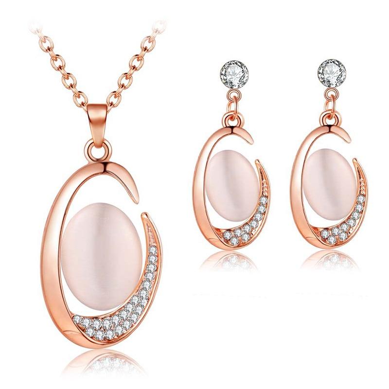 Bridal jewelry set hibiscus cat eye elegant noble necklace earring set jewelry