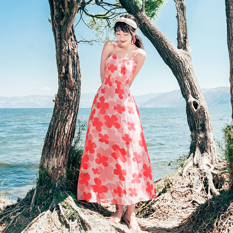 Backless Beach Skirt Seaside Holiday Fairy Chiffon Strapped Dress Summer New Products Thailand Maldives Long Skirts