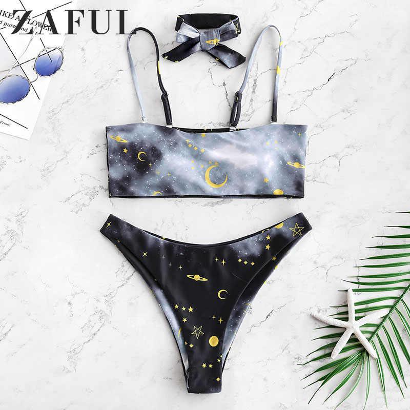 ZAFUL Hot Sale Sexy Bikinis Starry Print High Leg Bikini Set Women Swimsuit Summer Beach Swimwear Separate Swimming Suit biquini