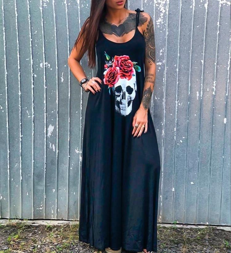 Summer Dresses Women Punk Style Loose Halter Neck Sleeveless Skull Print Female Shirt Dress Street Side High Split Flower Print 20