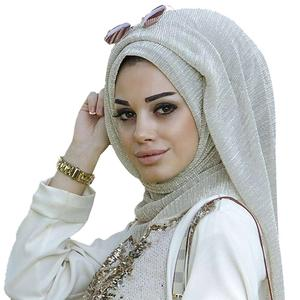 Muslim Hijab Islamic Fashion Golden Thread Wrinkled Women's Muslim Scarf Hijab Head Wrap Headscarf Middle East Fashion