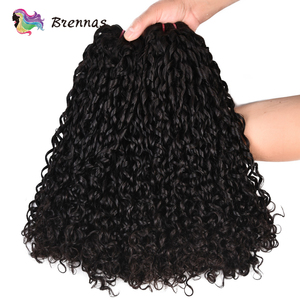 Image 3 - Double Drawn Funmi hair bundles with closure pixie curl human hair weave Brazilian non Remy hair 4x4 lace closure natural color