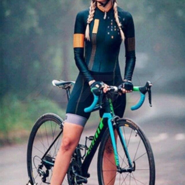 Kafitt manga longa camisa de ciclismo skinsuit 2020 mulher ir pro mtb bicicleta roupas opa hombre macacão gel almofada skinsuit 3