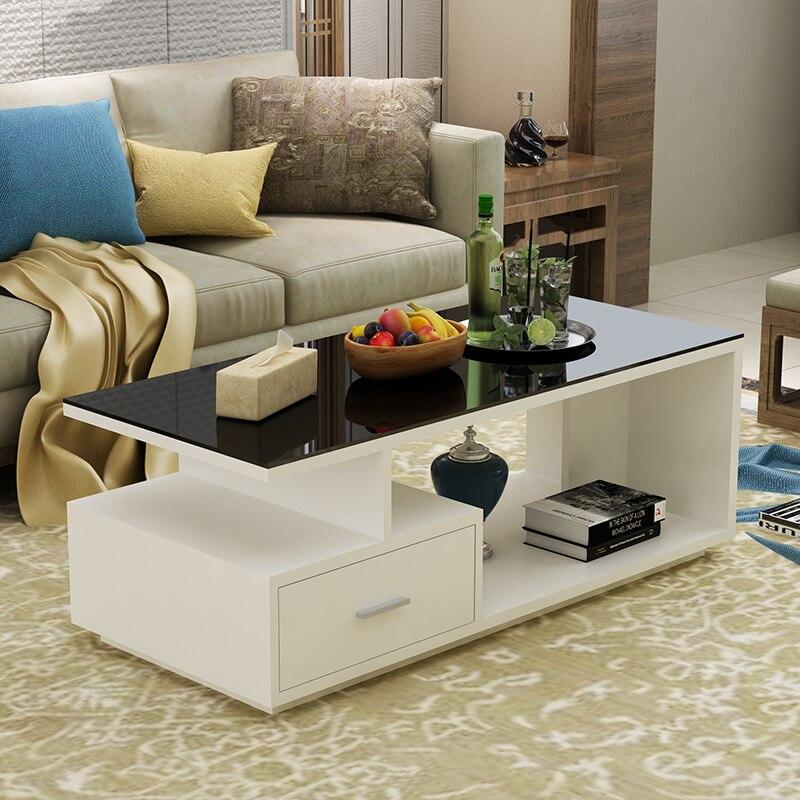 Modern Coffee Table журнальный столик Creative Furniture Tempered Glass Living Room Table Small Apartment Rectangular Table