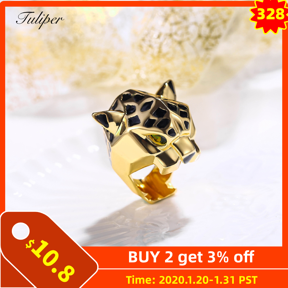 Tuliper Leopard Panther Ring Bague Cocktail кольцо Animal Zircon Enamel Party Ring Unisex Men Women Femme Homme мужское женское