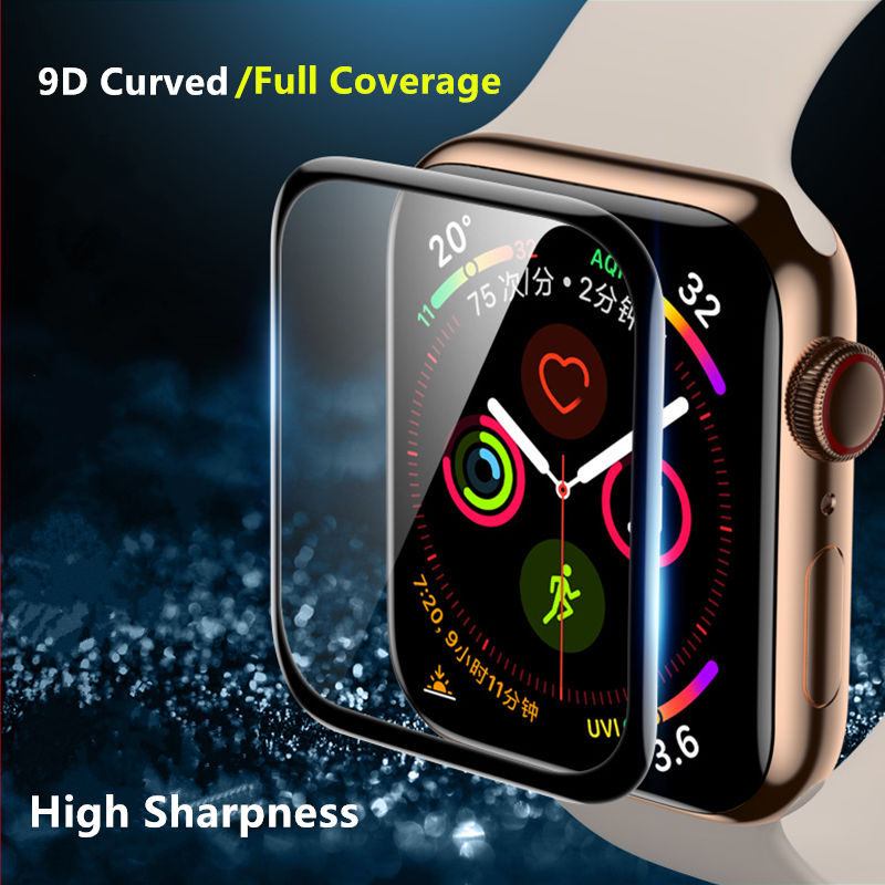 Soft Glass For Apple Watch series 5 4 3 44mm 40mm 42mm 38mm 9D HD iWatch 38 42 40 44 mm Film for Apple watch Screen Protector