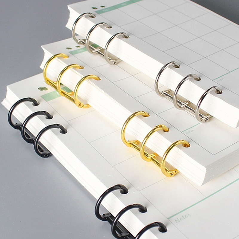 2 Pcs Metal Loose Leaf Book Binder Rings Calendar Circle 3 Rings For Notebook Album Scrapbook Clips