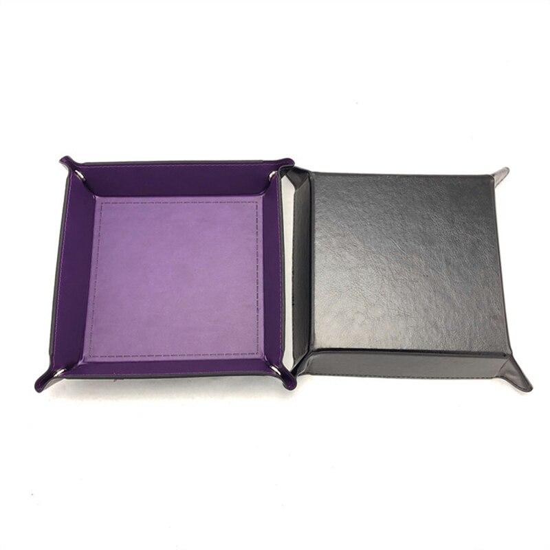 Складная коробка для хранения из искусственной кожи, квадратный поднос для настольной игры в кости, кошелек для ключей, коробка для монет, поднос, настольная коробка для хранения, лотки, Декор - Цвет: A-4
