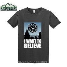 Верьте D20 футболка геймера, я хочу верить в ролевые игры, забавная мужская летняя хипстерская футболка в стиле Харадзюку, уличная одежда, ...