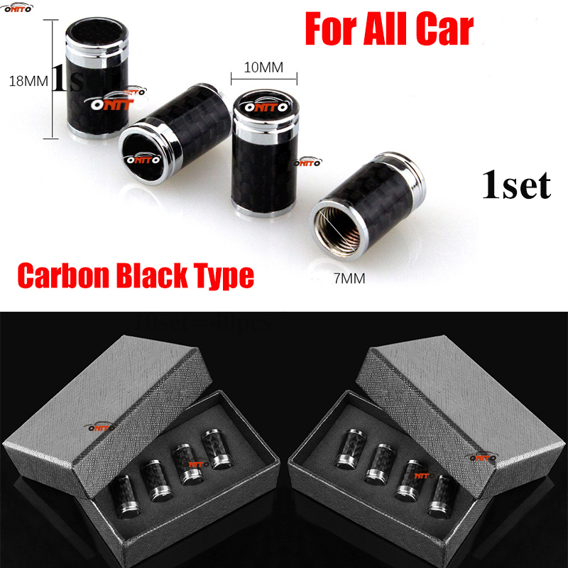 1set Carbon Black Wheel Rim Valve Cap Covers With Box Auto Accessory For BMW Toyota Honda Hyundai Jeep Nissan mazda benz volvo