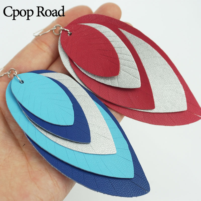 Cpop Five Layers Color PU Leather Earrings for Women New Big Statement Dangle Leaf Earring Fashion Jewelry Accessories Wholesale