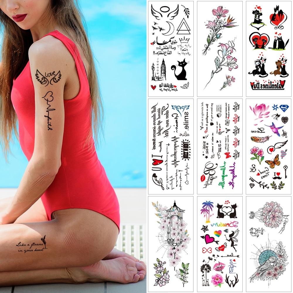 all temporary sticker tattoos cat mermaid Cartoon Waterproof tattoo alphabet letter Lips love team bride Kids woman body tattoo