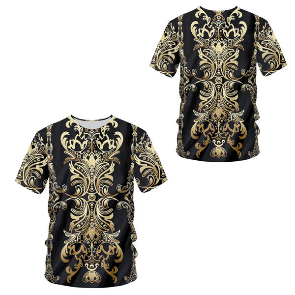 H2a46b3fcc6c8489c88c4ed345f3acf8cL - 3d Baroque Palace Gold Flower T-shirt