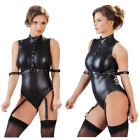 sexy lingerie bodysuit leather catsuit zipper crotch open cup ropa sexy para el sexo sex clothing clubwear woman bondage clothes
