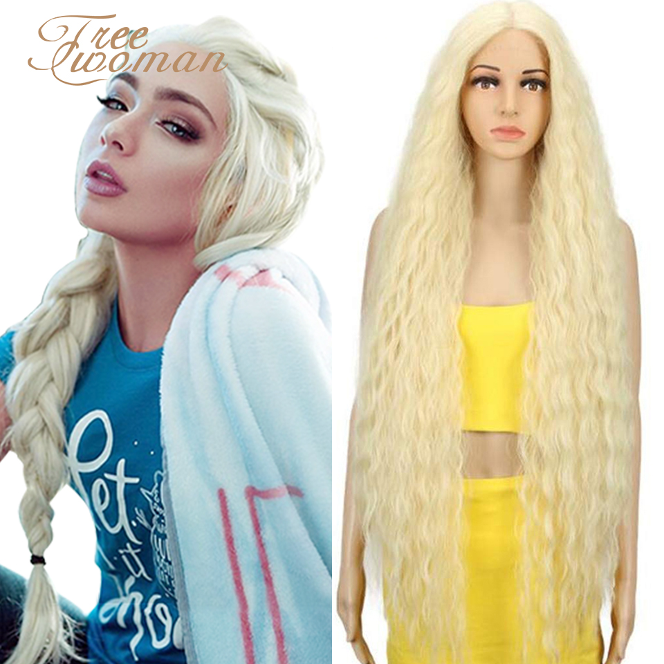 FREEWOMAN Blonde Synthetic Lace Front Wigs Long Curly Ombre Wigs For Black Women Kanekalon Cosplay Wigs Fake Hair Black Brown