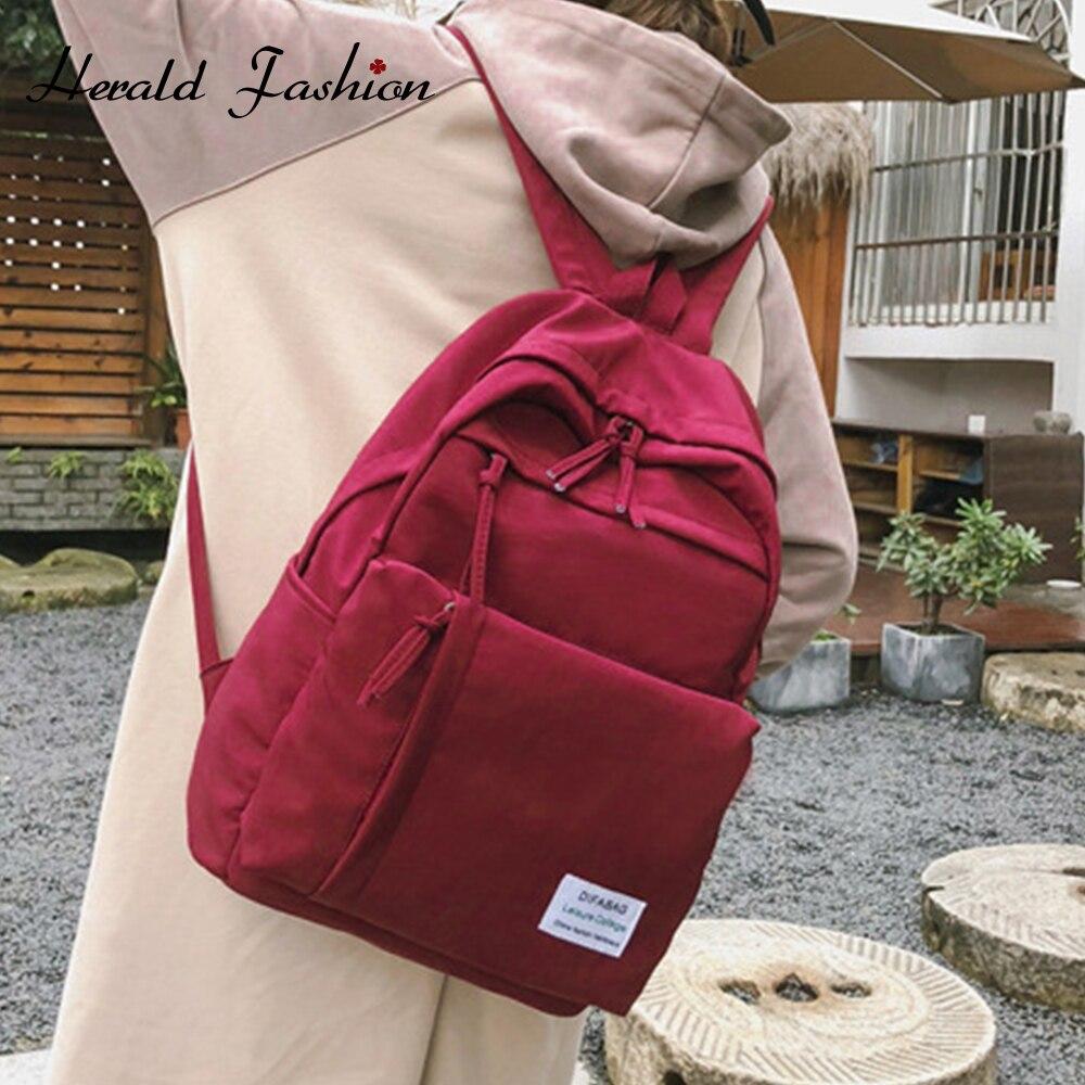 Herald Fashion Women Classic Waterproof Backpacks Nylon Multi-pocket Backpack Large Capacity Student Schoolbag New