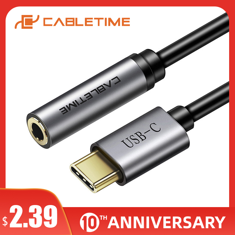 CABLETIME Type C To Audio 3.5mm Adapter Jack USB C To 3.5mm AUX Headphones For Huawei Mate30 20 Pro 5G P30 Pro Xiaomi 6 8 9 C019