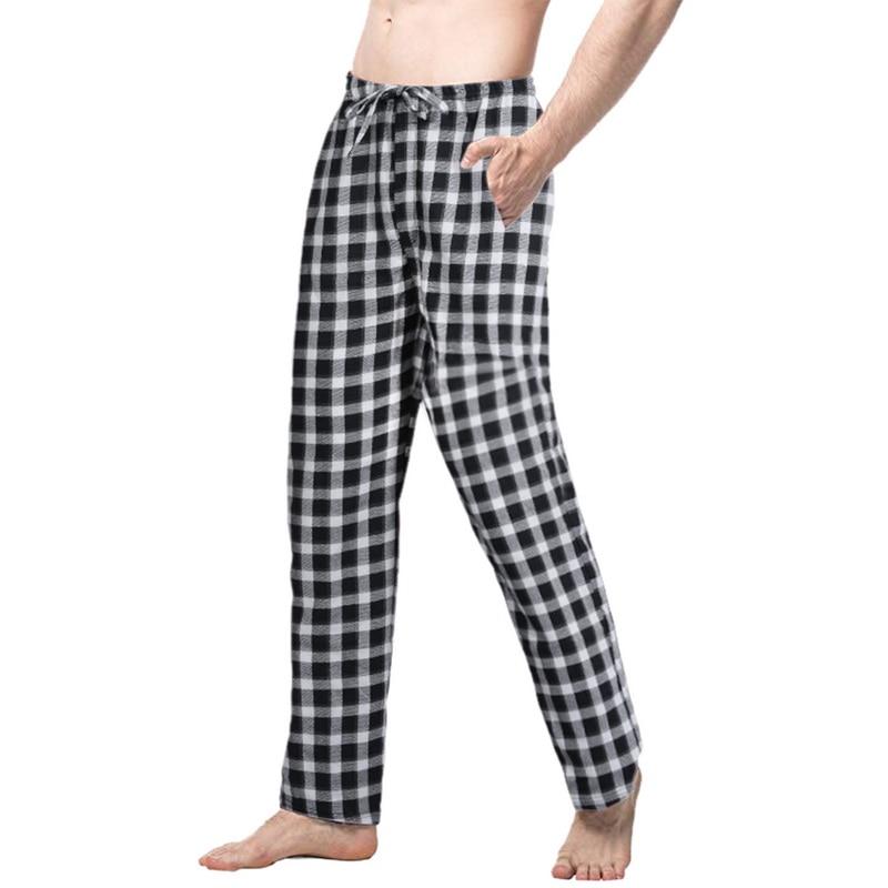 Nice Summer Plaid Sleep Bottoms Mens Pajama Simple Sleepwear Pants Mens Plus Size Pyjama Trousers Mens Plaid Sleep Bottoms