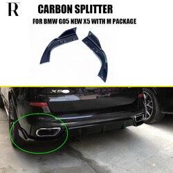 G05 X5 z włókna węglowego tylny zderzak boczne Splitter fartuch dla BMW G05 nowy X5 M-tech M-sportowy zderzak tylko 2019 w górę