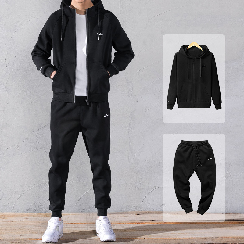 Large Size Hoodie Suit Men Spring Hooded Cardigan Two-Piece Set Korean-style Trend Sports Casual Wear Plus-sized