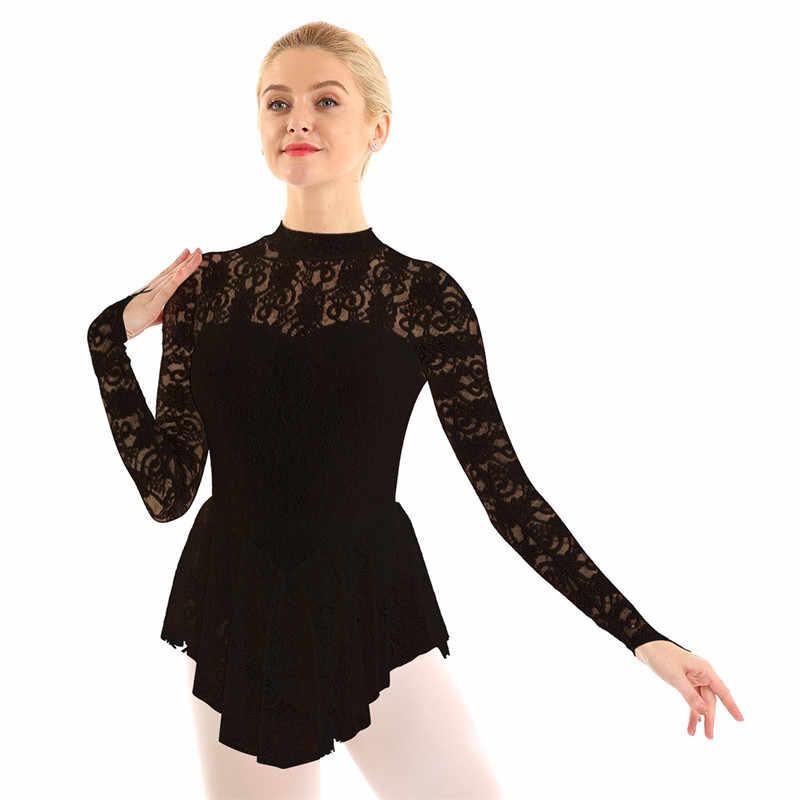 נשים מבוגרים בלט ריקוד בגד גוף שמלת מוק צוואר ארוך שרוול תחרה דמות קרח החלקה על רולר החלקה שמלת בלרינת Dancewear