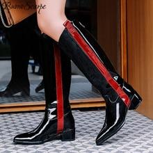 Buono Scarpe bottes longues en cuir verni pour femmes, chaussures conçues de marque à talon épais, à pointe de couleurs mélangées, grandes tailles 42