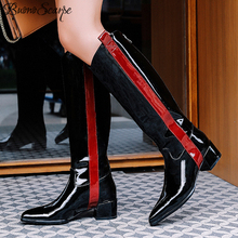 Buono scarpe botas longas femininas, botas longas de couro, cachecol, sapatos desenhados de marca, cores mistas, botas femininas, tamanho grande 42