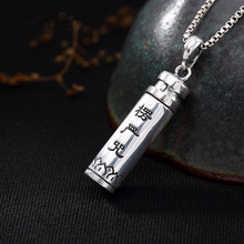 все цены на 2019 New Style 925 Silver Thai Silver Vintage Men Necklace Cylindrical Six-Word Mantra Men And Women Pendant Accessories онлайн