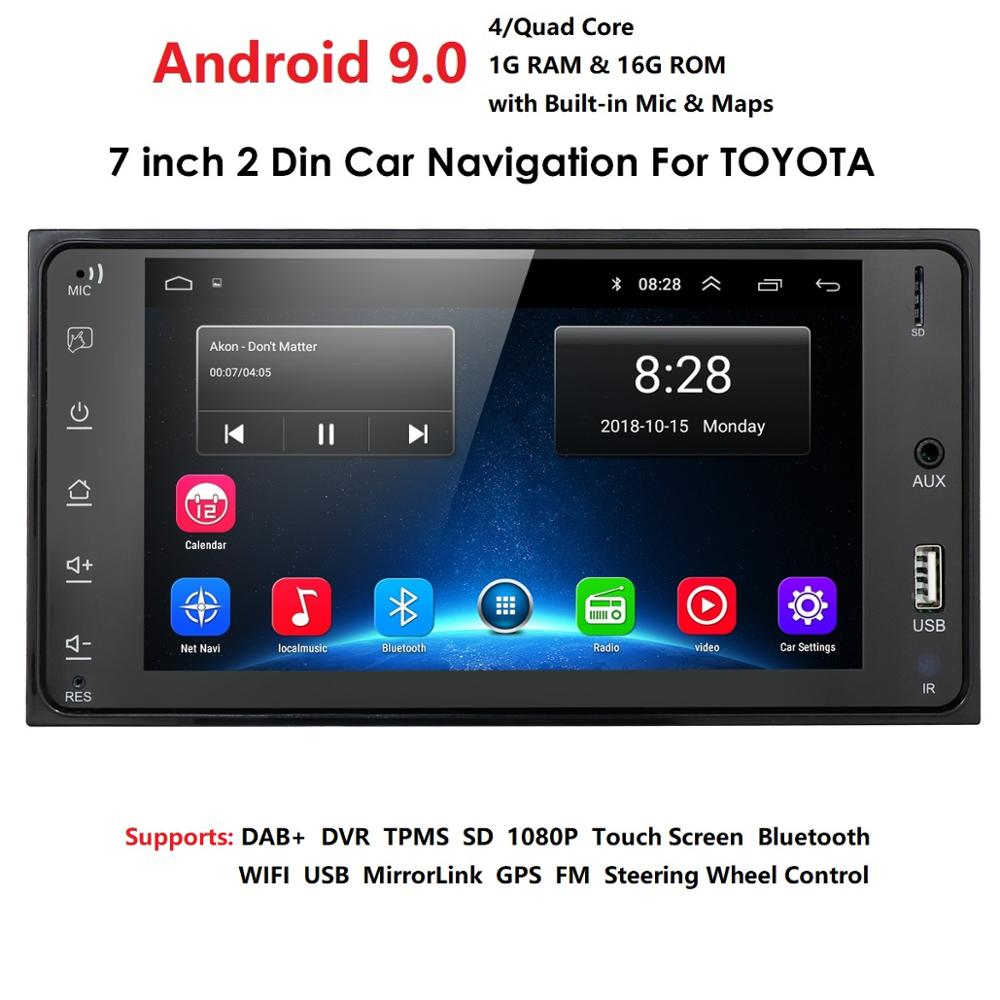OSSURET Android 9.0 Universal Car GPS Navigation Radio For Toyota Camry Alphard Echo Rush Allion Auris Celica Yaris FM MAPS