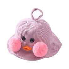 2019 Fashion Baby Hats Cute Cartoon Corduroy Basin Cap Fisherman Beanies Outdoor Children Warm Hip-Hop Bucket