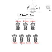 3D-принтеры MK8 V5 V6 нержавеющая сталь M6 сопла 0,2/0,3/0,4/0,5/0,6/0,8 мм Экструдер сопла печатающей головки для 1,75 мм или 3,0 мм Fliament