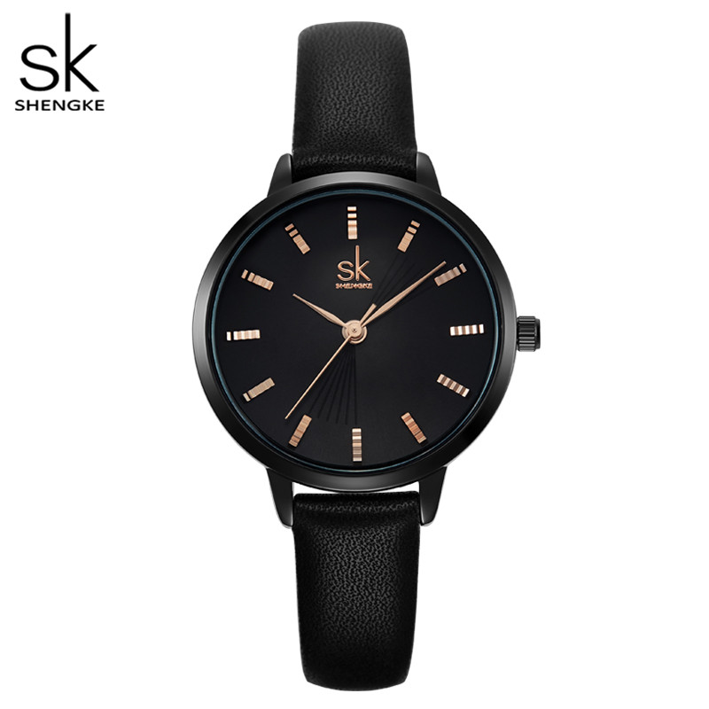 Shengke Women Classical Black Quartz Watch Lady Leather Watchband High Quality Casual Waterproof Wristwatch Gift For Wife