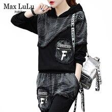 MAX Luluฤดูใบไม้ร่วง 2019 แฟชั่นเกาหลีStreetwearผู้หญิงเสื้อและกางเกงสตรี 2 ชิ้นชุดDENIMชุดVINTAGE Hooded Tracksuit