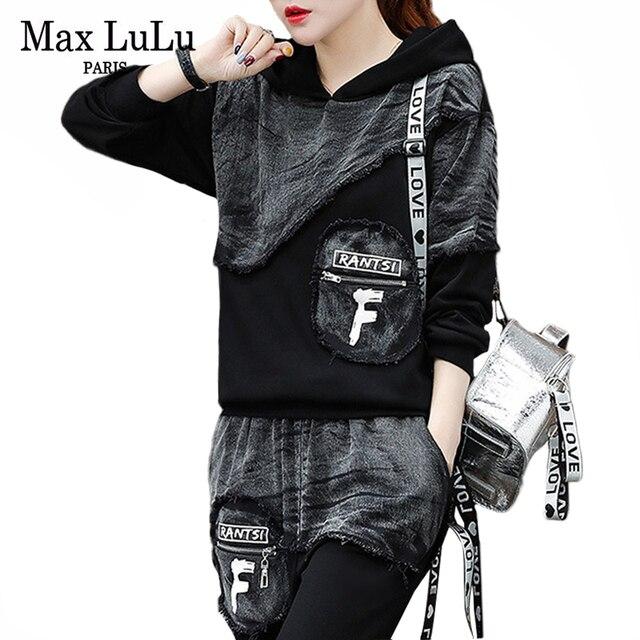 Max LuLu sonbahar 2019 moda kore Streetwear bayanlar üstler ve pantolonlar kadın iki parçalı Set Denim kıyafetler Vintage kapşonlu eşofman