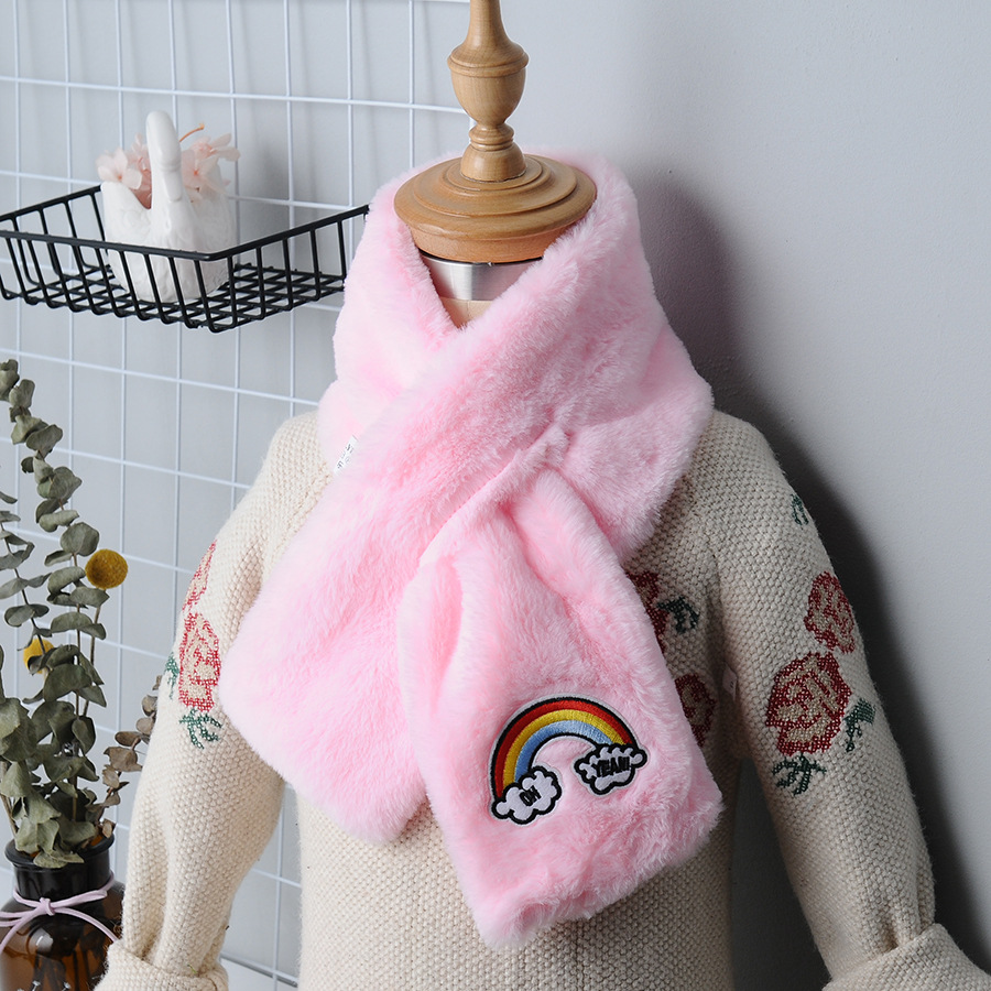 2019 New Style Winter Warm CHILDREN'S Scarf Cartoon Rainbow Cross