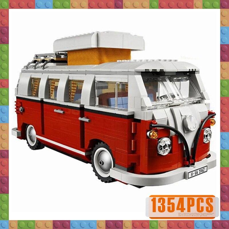 1354pcs Compatible 10220 Technic Series VW T1 Camper Van Building Blocks Car Model Bricks Bus 21001 Children Toys Set