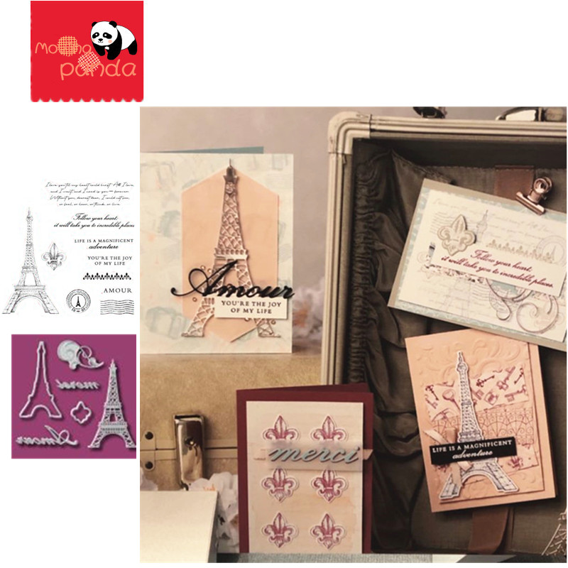 MP045 Eiffel Tower Metal Cutting Dies And Stamps For Scrapbooking DIY Photo Album Paper Card Decorative Craft Embossing