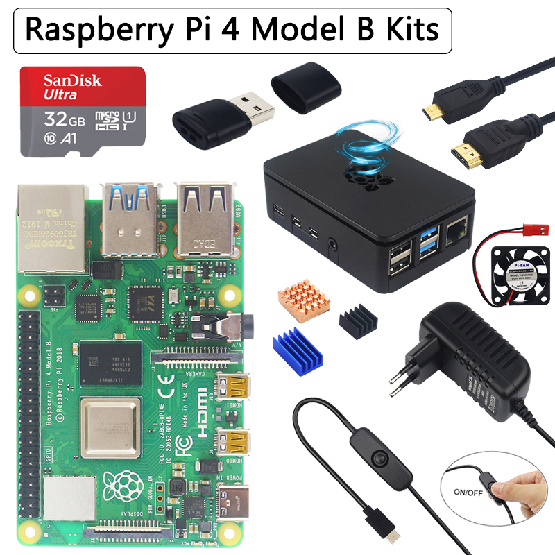 Original Raspberry Pi 4 Model B Kit + ABS Case + 32 64GB SD Card+ Power Adapter + Fan+ Heat Sink + HDMI Cable For Raspberry Pi 4