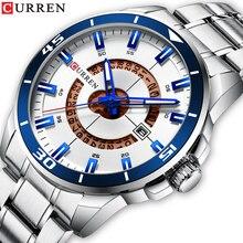 CURREN New Design Silver Stainless Steel Quartz Watch Hot Sale Waterproof LuminousDisplay Sport Multifunction Wrist