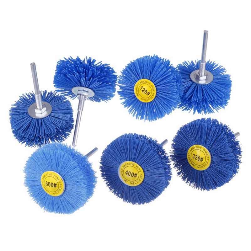 7 Pack Abrasive Nylon Wheel Brush Grinding Head with 1/4inch Shank, Grit Perfect for Removal of Rust/Corrosion/Paint
