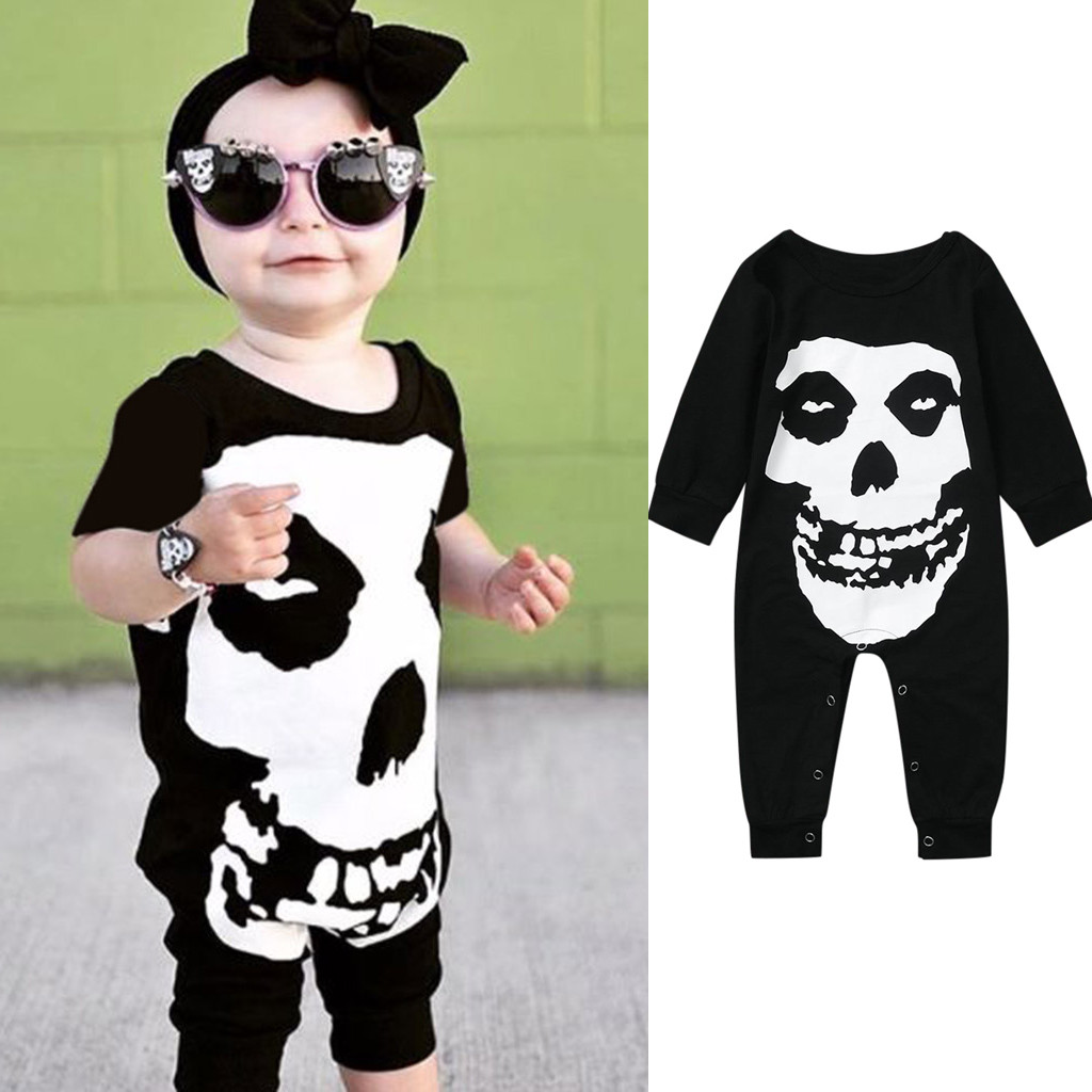 Halloween Newborn Baby Clothing Child Baby Boy Girl Halloween Skull Cosplay Costume Long Sleeve Hat Coat Clothing Set