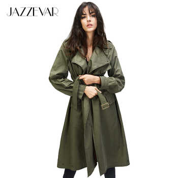 JAZZEVAR 2019 Autumn New High Fashion Brand Women's Double Breasted trench coat Wasserfall Collar outwear Loose Clothing - DISCOUNT ITEM  29% OFF All Category