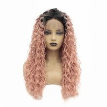 цена на Ombre Kinky Curly 180% Density Heat Resistant Hair Long Pink Lace Front Wig Middle Part Glueless Synthetic Wigs for Black Women