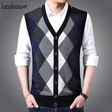 6% шерсть, модный свитер без рукавов, мужские пуловеры, кардиган, вязаные Джемперы, зимний жилет с v-образным вырезом, облегающая повседневная одежда для мужчин