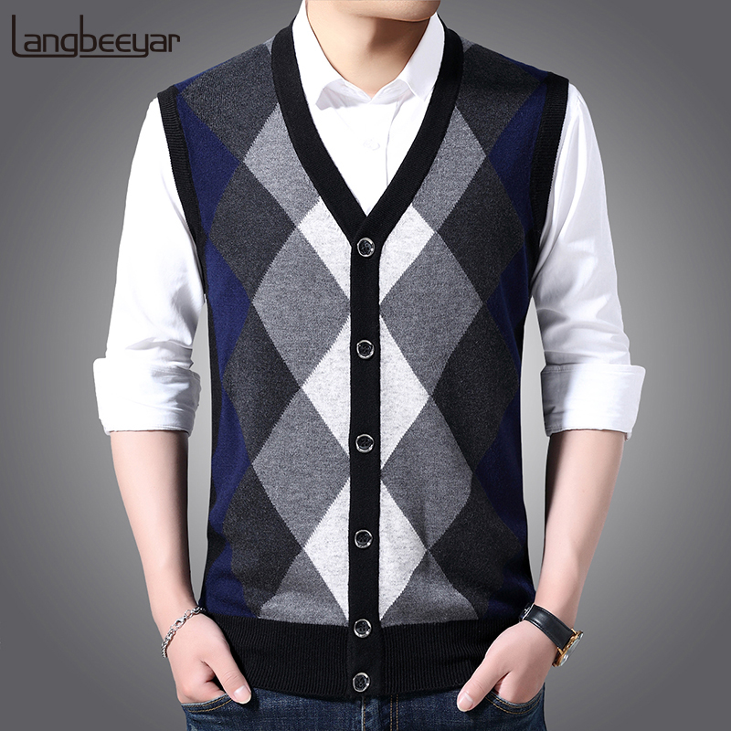6% Wool Fashion Sleeveless Sweater Men Pullovers Cardigan Jumpers Knitwear Vest Winter V Neck Slim Fit Casual Clothing Male