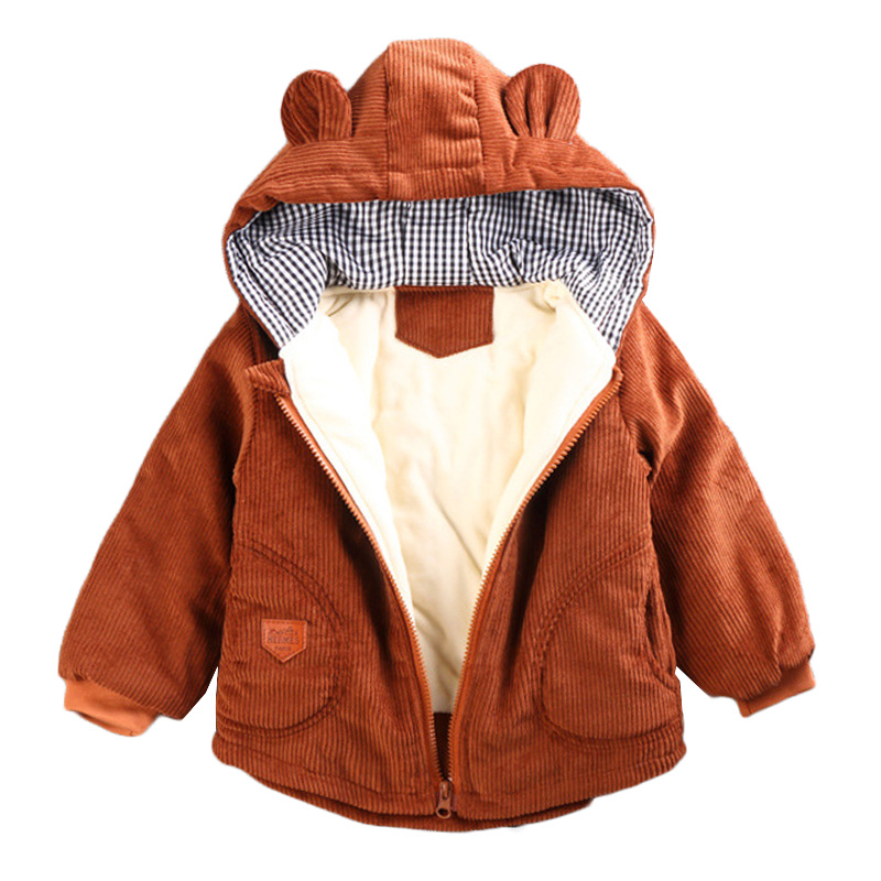Toddler Baby Boys Girls Jacket Coat Kids Plaid Winter Warm Hooded Outerwear 0-3t