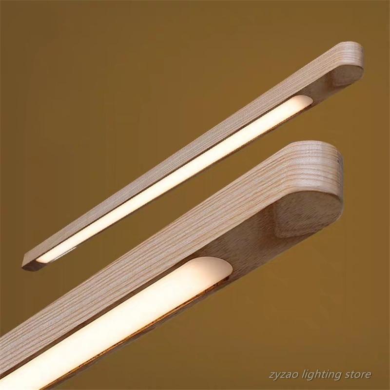 Nordic Wooden LED Pendant Lights Dining Room Restaurant Kitchen Hanging Lamp Home Decor Walnut Wood Office Strip Lights Fixtures