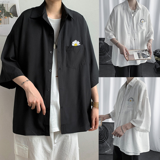 рубашка shirt men Marguerite Three-quarter Sleeves Shirt Pocket Summer Men Casual Top Workwear shirts for men  рубашка мужская 6
