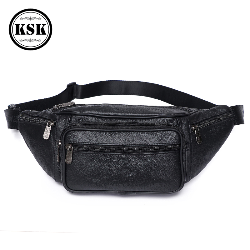 Men Waist Pack Genuine Leather Bag Waist Belt Bag Leather Fanny Pack For Men 2019 Fashion Luxury Male Small Shoulder Bags KSK